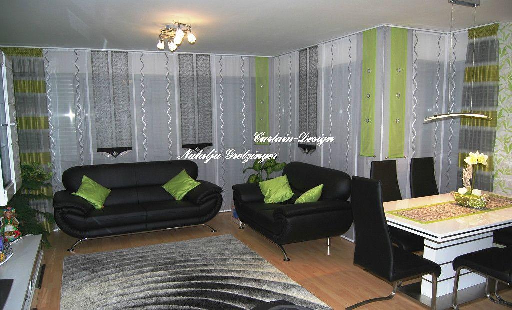 Wohnzimmer Schiebevorhang in Eckform - http\/\/wwwgardinen-dekode - wohnzimmer braun weis grun