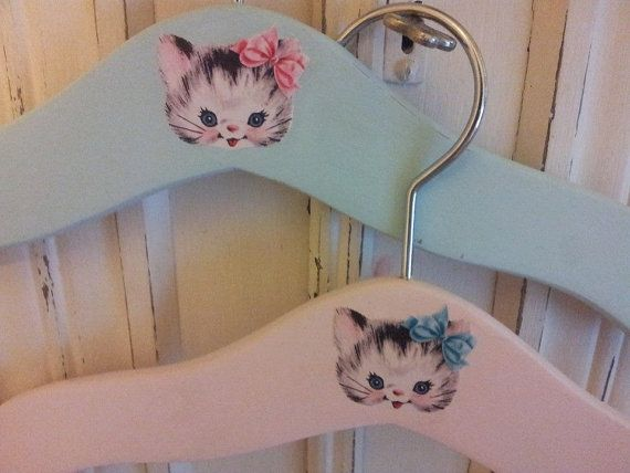 Vintage inspired children's clothes hangers set of 2. 1950s kitsch sweetness. Vintage kitten. on Etsy, $9.61