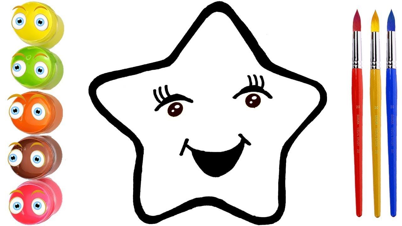 Glitter Star Drawing And Coloring For Kids How To Draw A Star Coloring For Kids Drawing Stars Cherry Drawing
