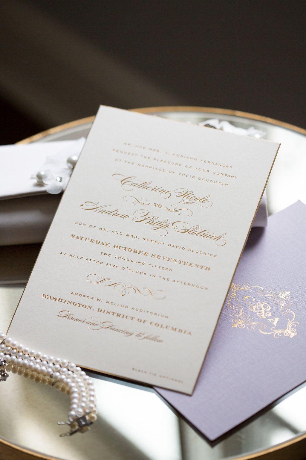 Gold foil letterpress invitation by cheree berry paper from gold foil letterpress invitation by cheree berry paper from romantic all white wedding at dc mellon stopboris Gallery
