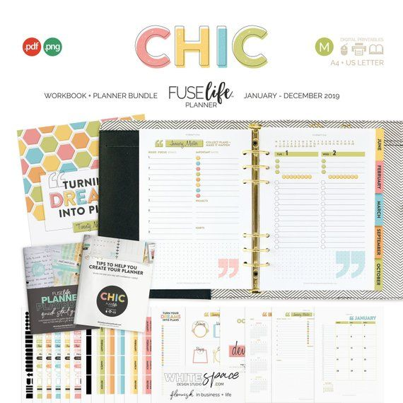 2019 Planner + Workbook Bundle : Chic Medium (A5 + Half Letter