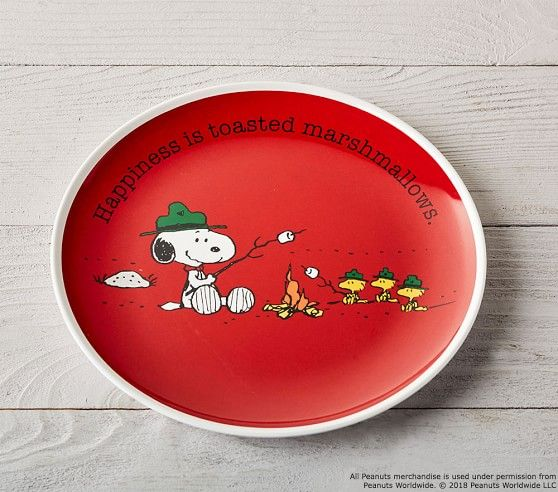 Snoopy R Tabletop Plate Collection Yellow Pottery Barn