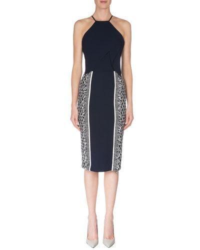 ROLAND MOURET Flutter-Front Dress W/Fringe, Navy/White. #rolandmouret #cloth #