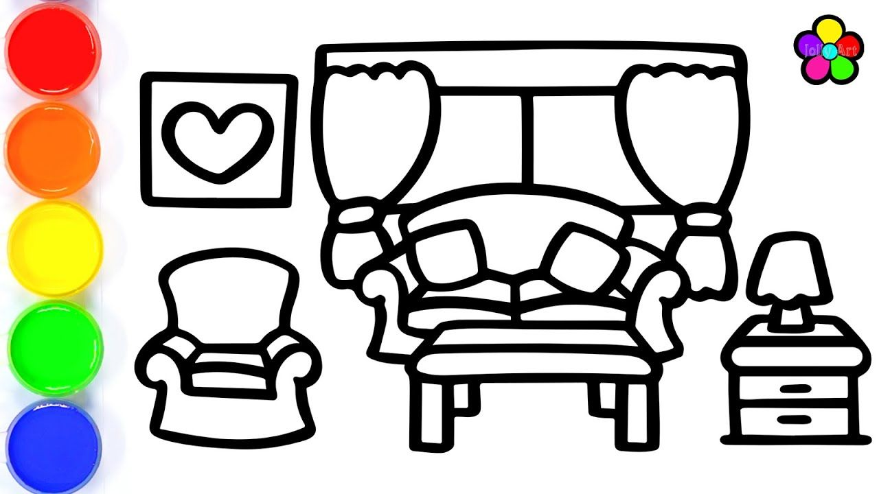 How To Draw A Living Room For Kids Living Room Drawing And