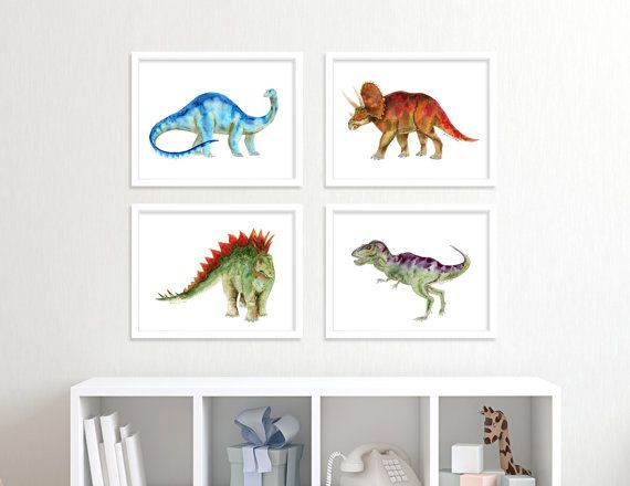 Dinosaur Print Set Dinosaur Nursery Art Dinosaur Wall