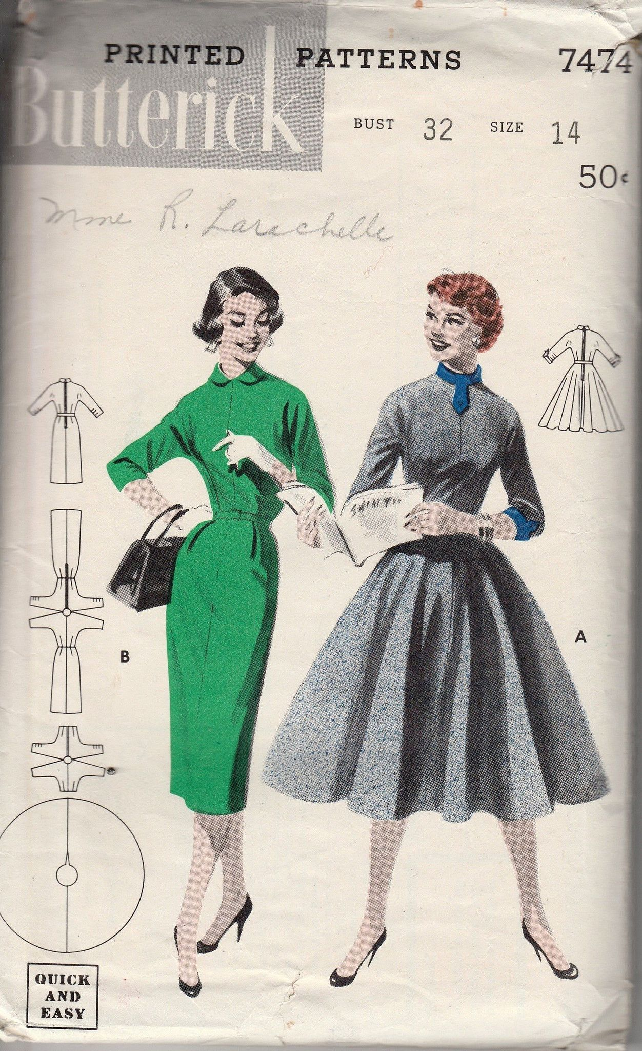 Butterick 7474 ladies dress vintage 1940s sewing pattern quick n butterick 7474 ladies dress vintage 1940s sewing pattern quick n easy jeuxipadfo Choice Image