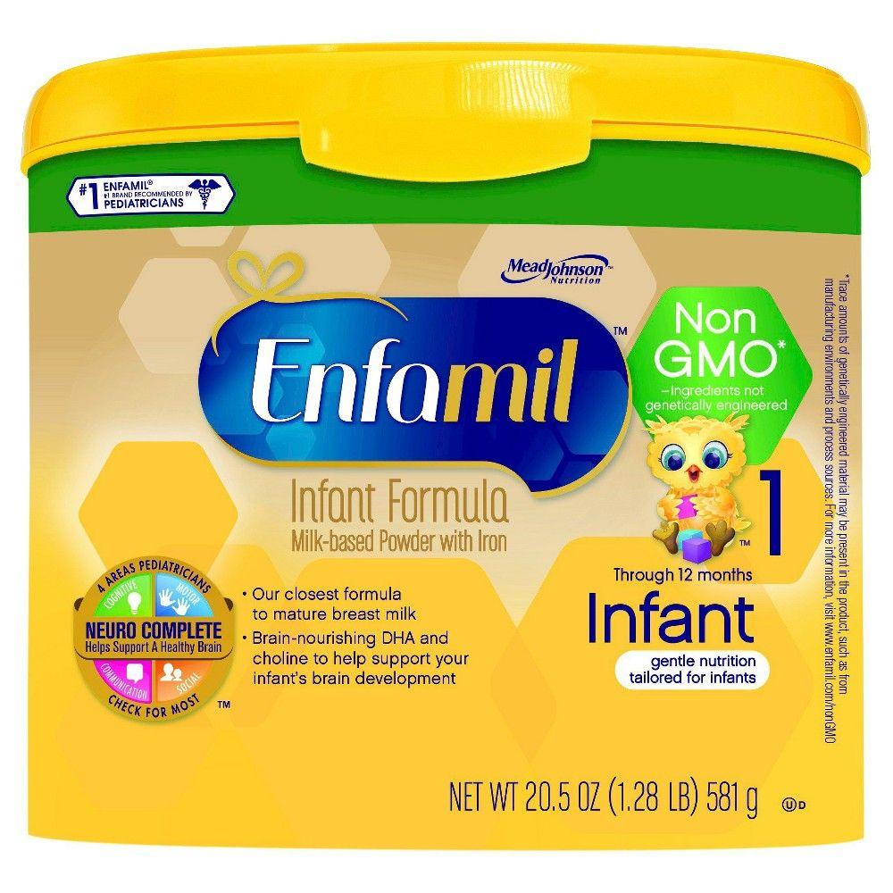 Enfamil Non Gmo Infant Formula 20 5 Oz 4 Pack Baby Formula Brands Baby On A Budget Formula Milk