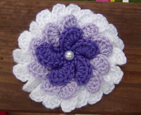 Lilac Flower Embellishment 5 1 Large 3 Tier 3d Purple Etsy Flower Crafts Yarn Crafts Lilac Flowers