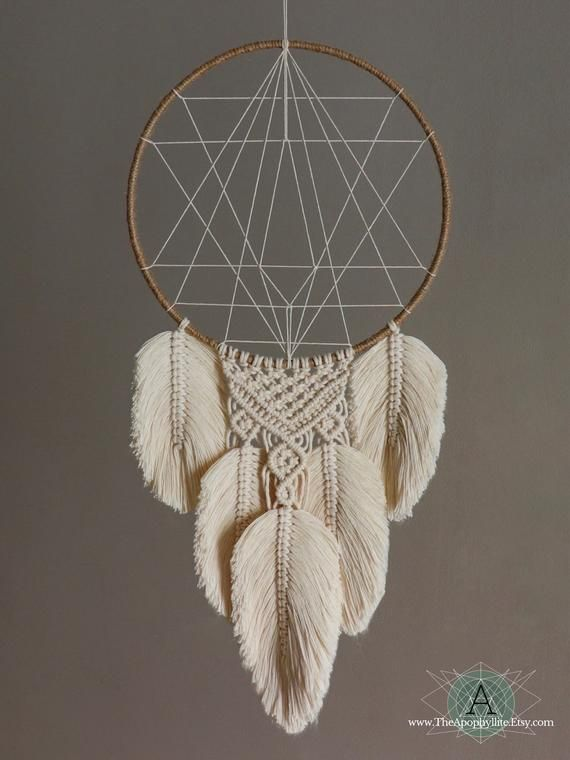 Photo of Macrame Feather dream catcher, geometric centre inspired by sacred geometry. Large natural cotton macrame art. Vegan Friendly faux feather