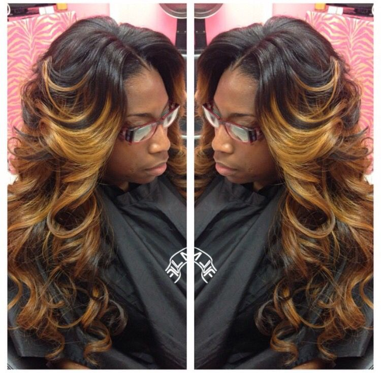 Full Sew In Honey Blonde Highlights Minimal Leave Out In