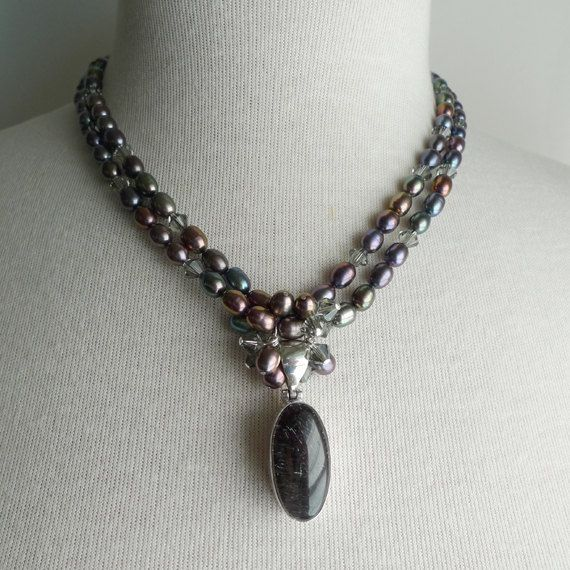 Two Strand Gray Freshwater Pearl & Swarovski by NucciDesign, Etsy LOVE LOVE!