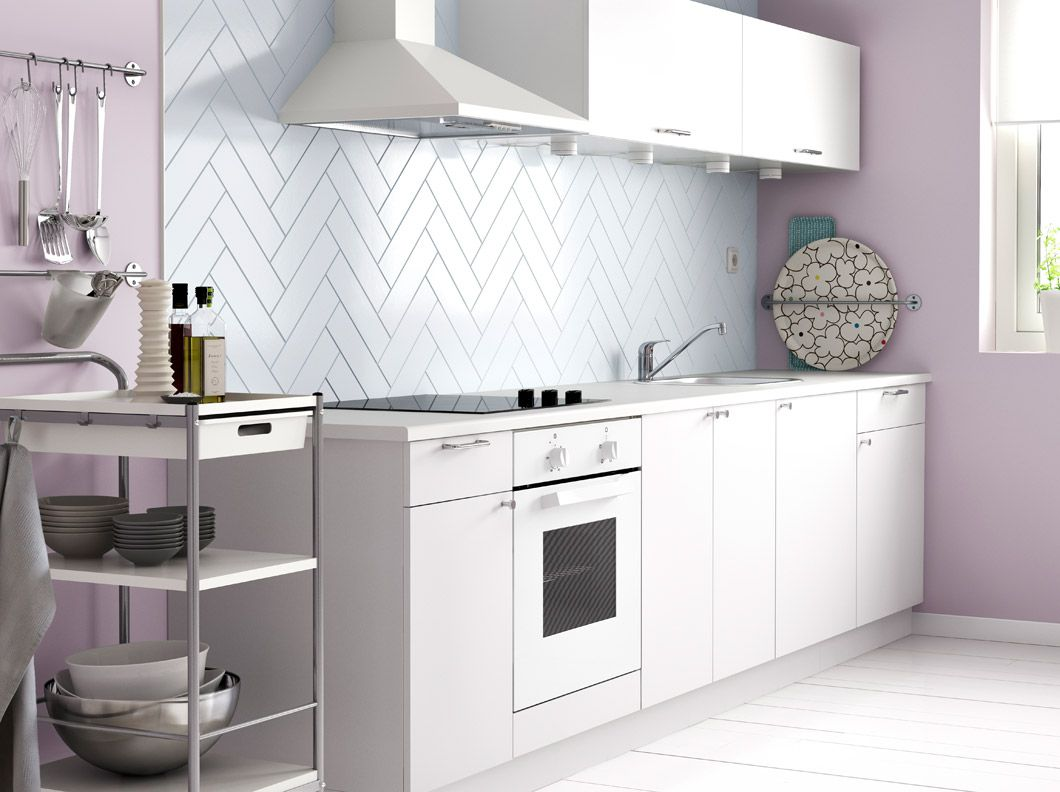 Faktum kitchen with h rlig white doors drawers fyndig white worktop and bygel trolley - Ikea cucine componibili prezzi ...