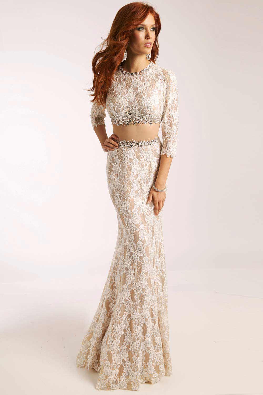 Jovani 20990 White Lace Two Piece Pageant Dress Pageant Dresses Gorgeous Prom Dresses Long Sleeve Lace Dress [ 1500 x 1000 Pixel ]