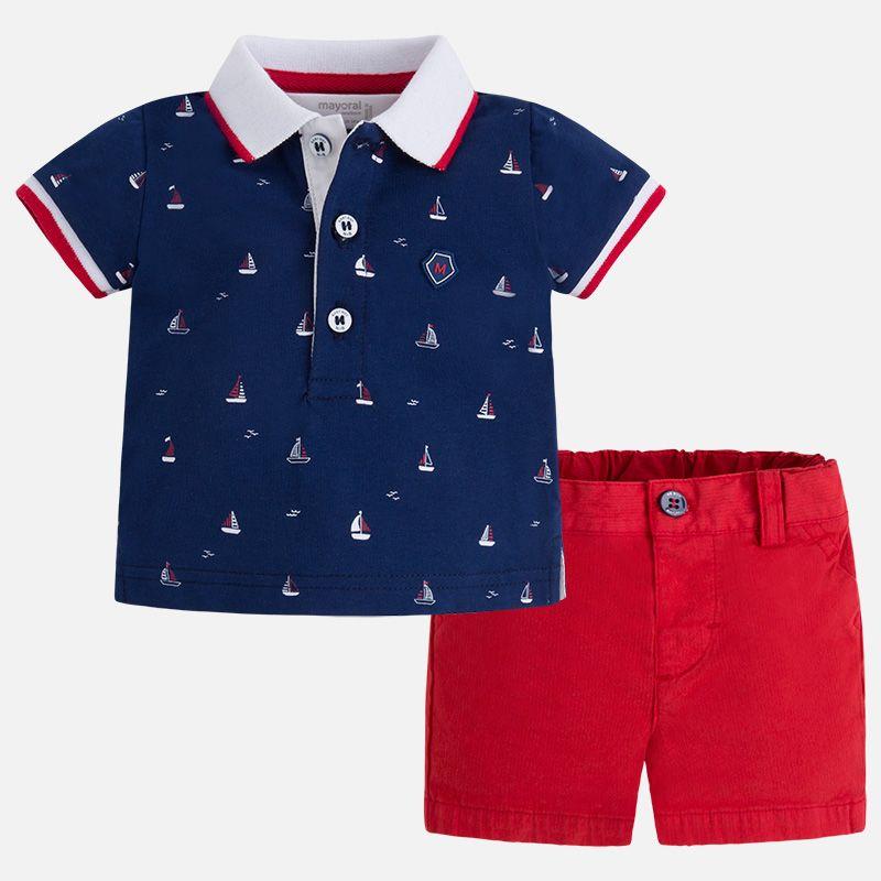 Conjunto menino polo e calças curtas Navy Red  da78e2344bae7