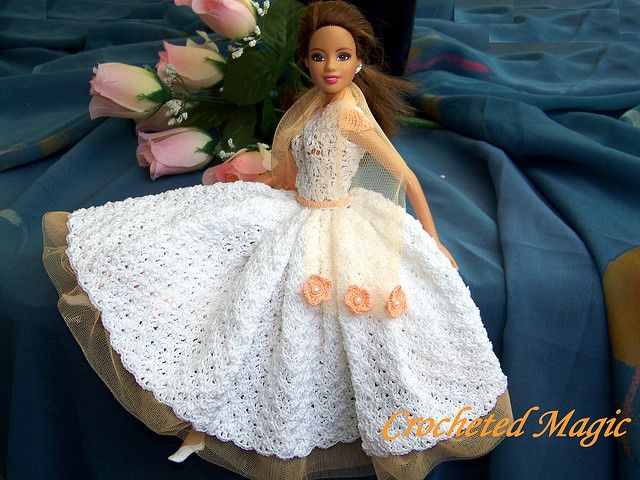 Absolute Romance Crocheted Barbie Doll Dress White And Pink Ooak By