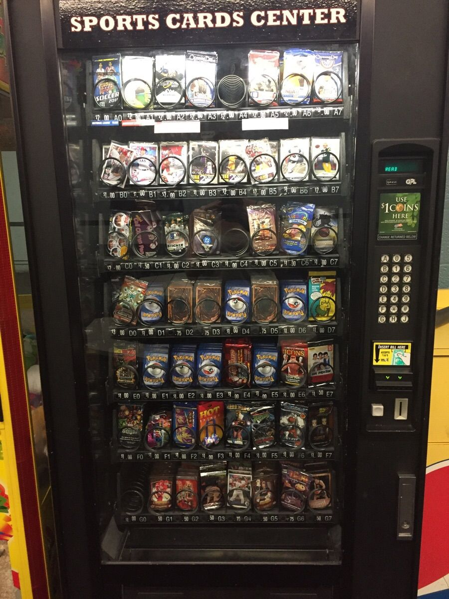 This Vending Machine Sells Individual Pokemon And Other Trading Cards Vending Machine Gumball Machine Cards