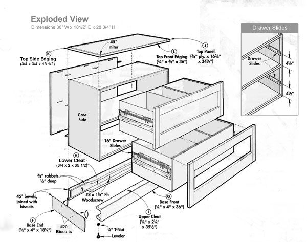 Exploded View Of Lateral Filing Cabinet