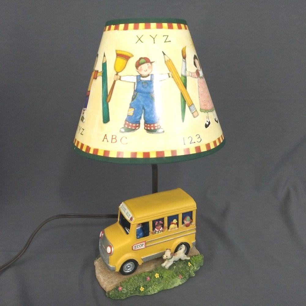 Susan Winget School Bus Desktop Lamp Abc 123 Lamp Shade 2006 Measure 14 In Tall Desktop Lamp Lamp Lamp Shade