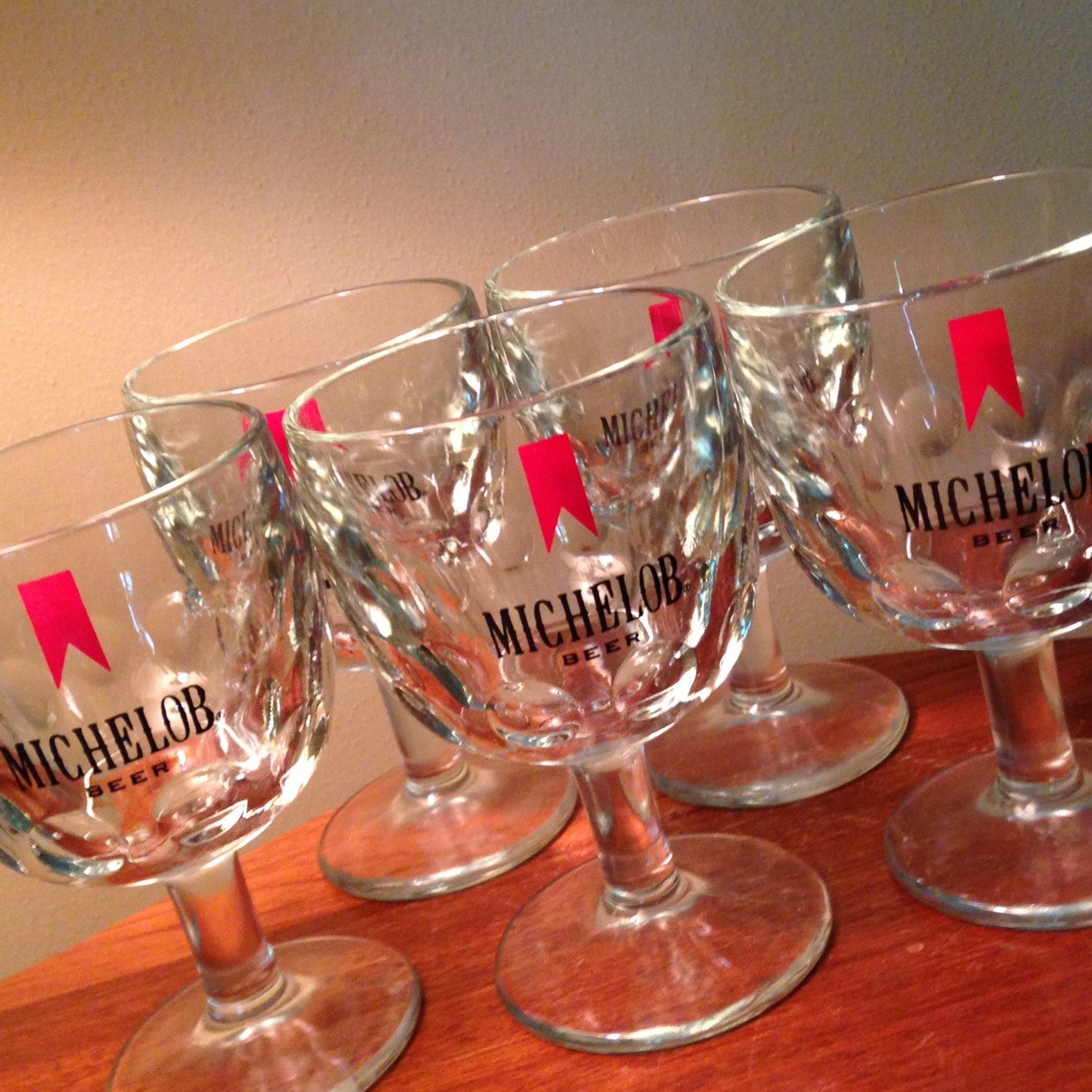 Five vintage Michelob Beeri thumbprint heavy glass goblets by FromTheSeller on Etsy