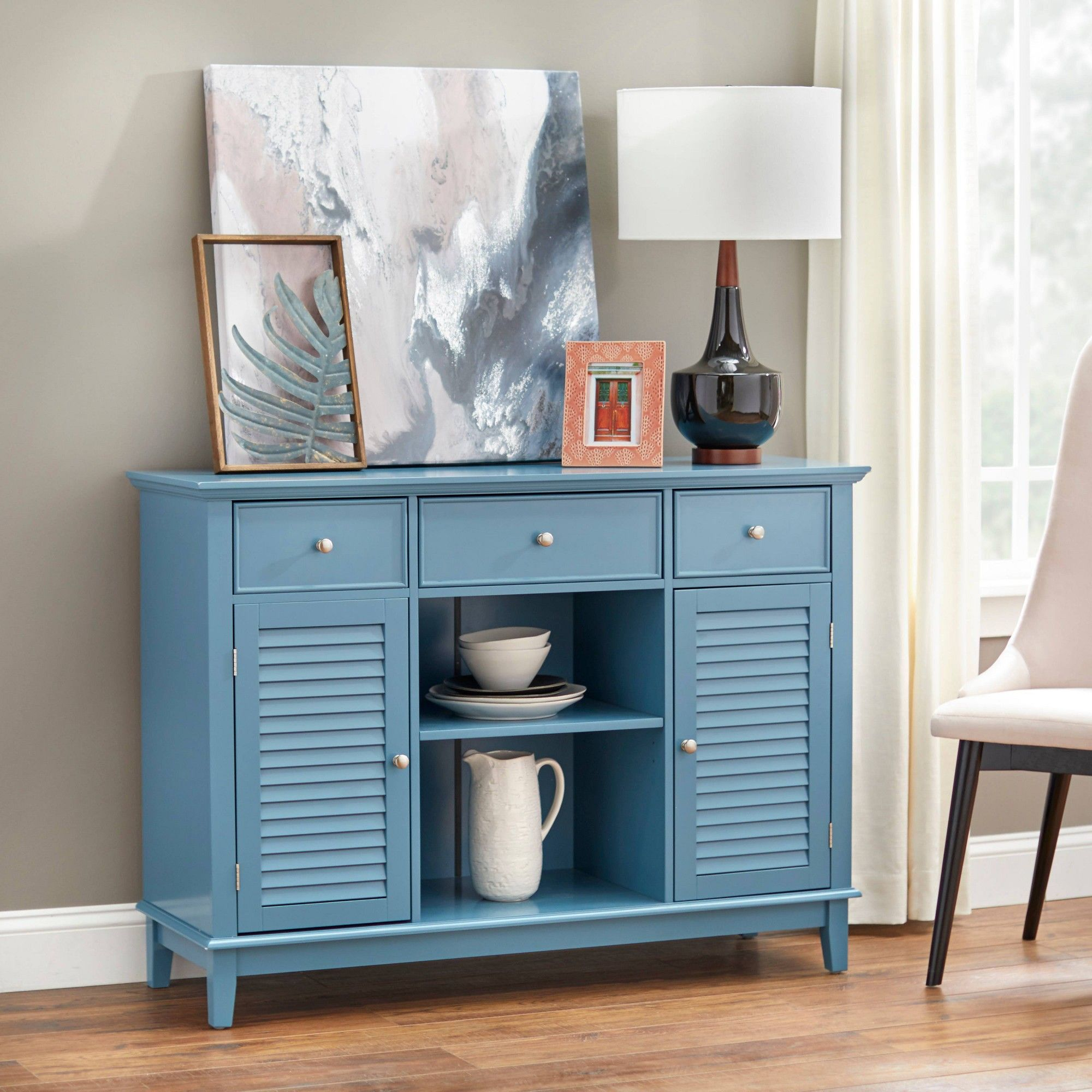 Highmore Louvered Buffet Servers Blue Buylateral In 2020