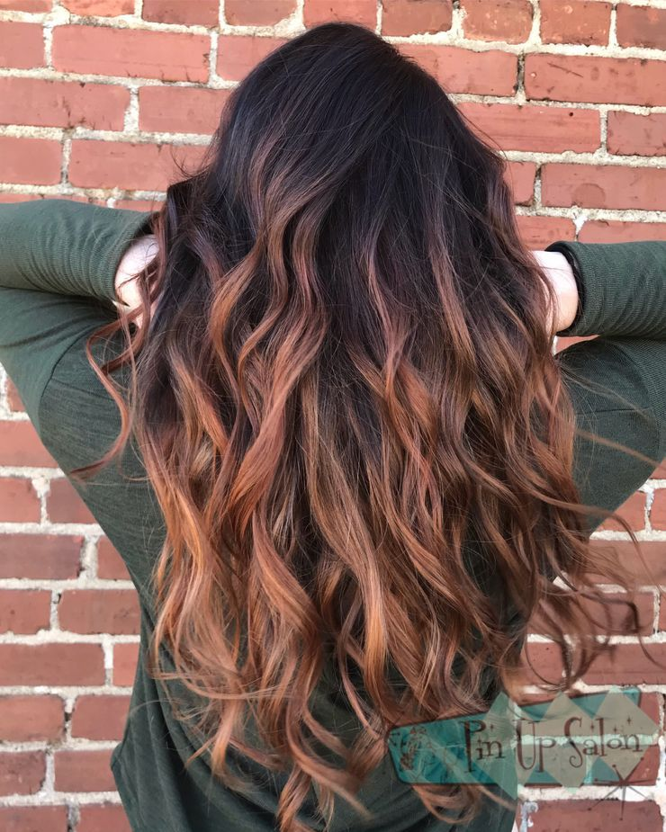 This Copper Balayage With A Dark Root Is By Shelby Copper Balayage Brown Hair Balayage Light Brown Hair