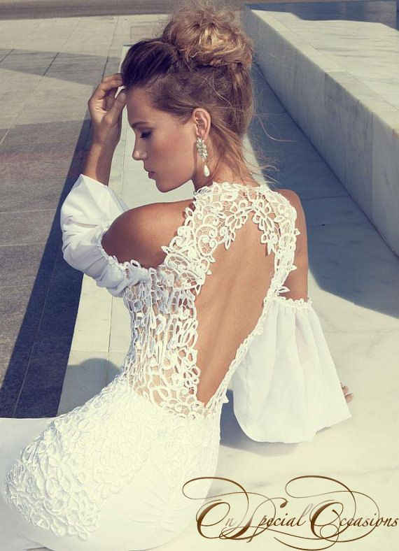 Elegant Open Back Mermaid Wedding Gown by OnSpecialOccasion
