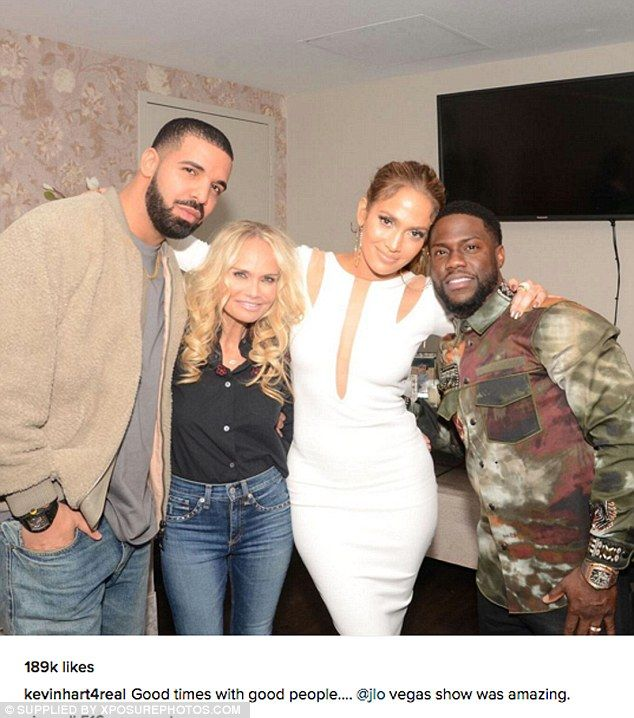Beaming: In December, Drake took in two Jennifer Lopez concerts in Las Vegas; Kevin Hart shared a picture while posing with the singers and also Kristin Chenoweth