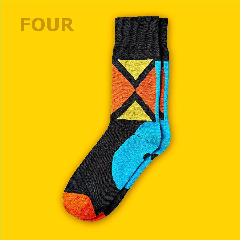 Men's Bold Argyle Dress Socks | Orange, Yellow & Black