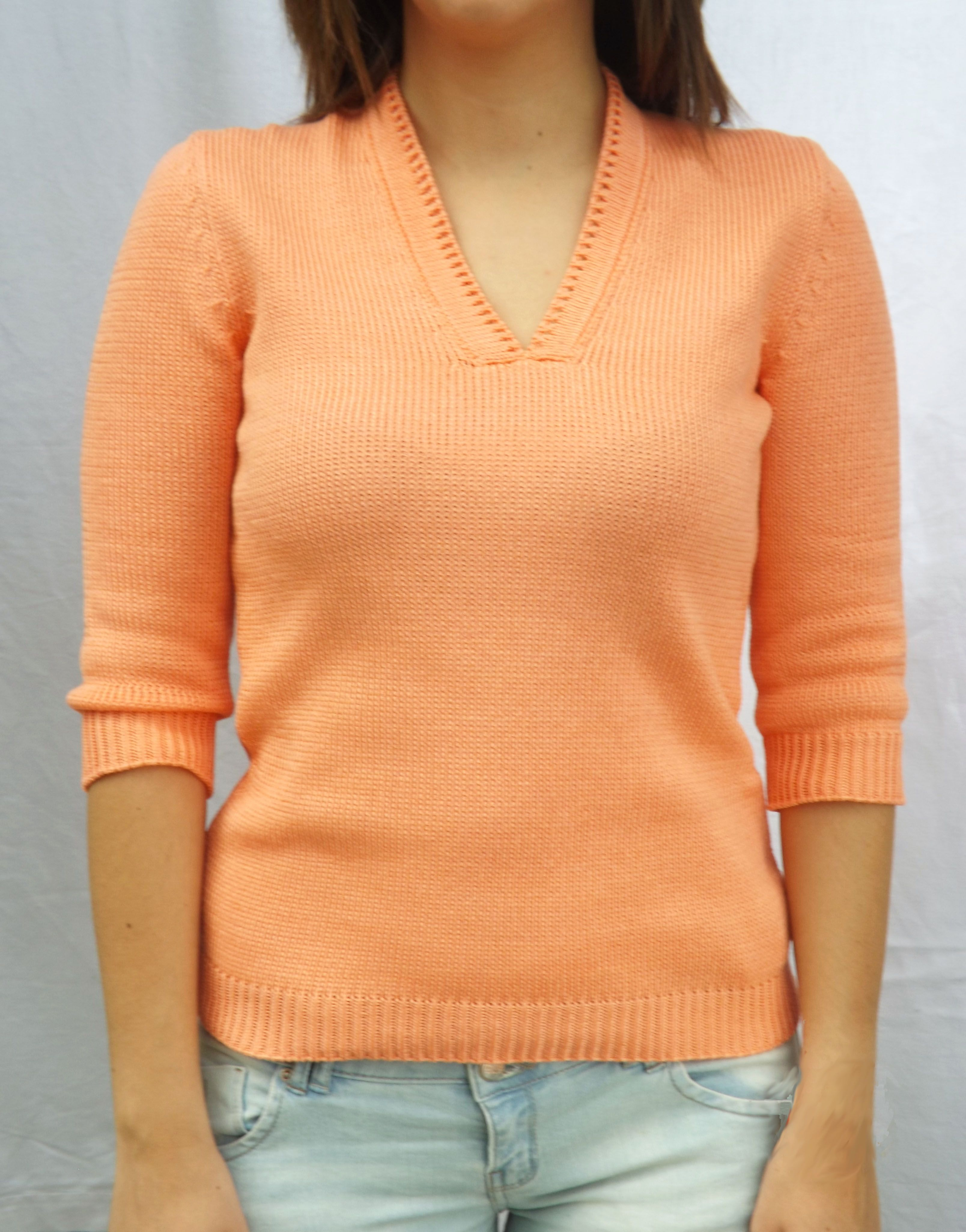Pullover in pure cotton makò super. V-neck and three-quarter length sleeves. #cotton #Fedor