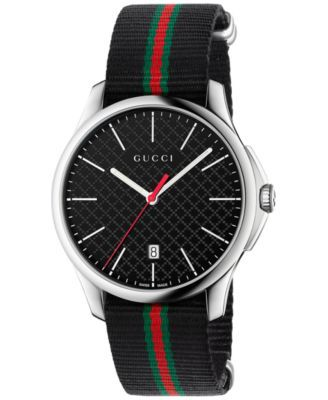 eeeb120ef59 Gucci Men s Swiss G-Timeless Black Striped Nylon NATO Strap Watch 40mm  YA126321