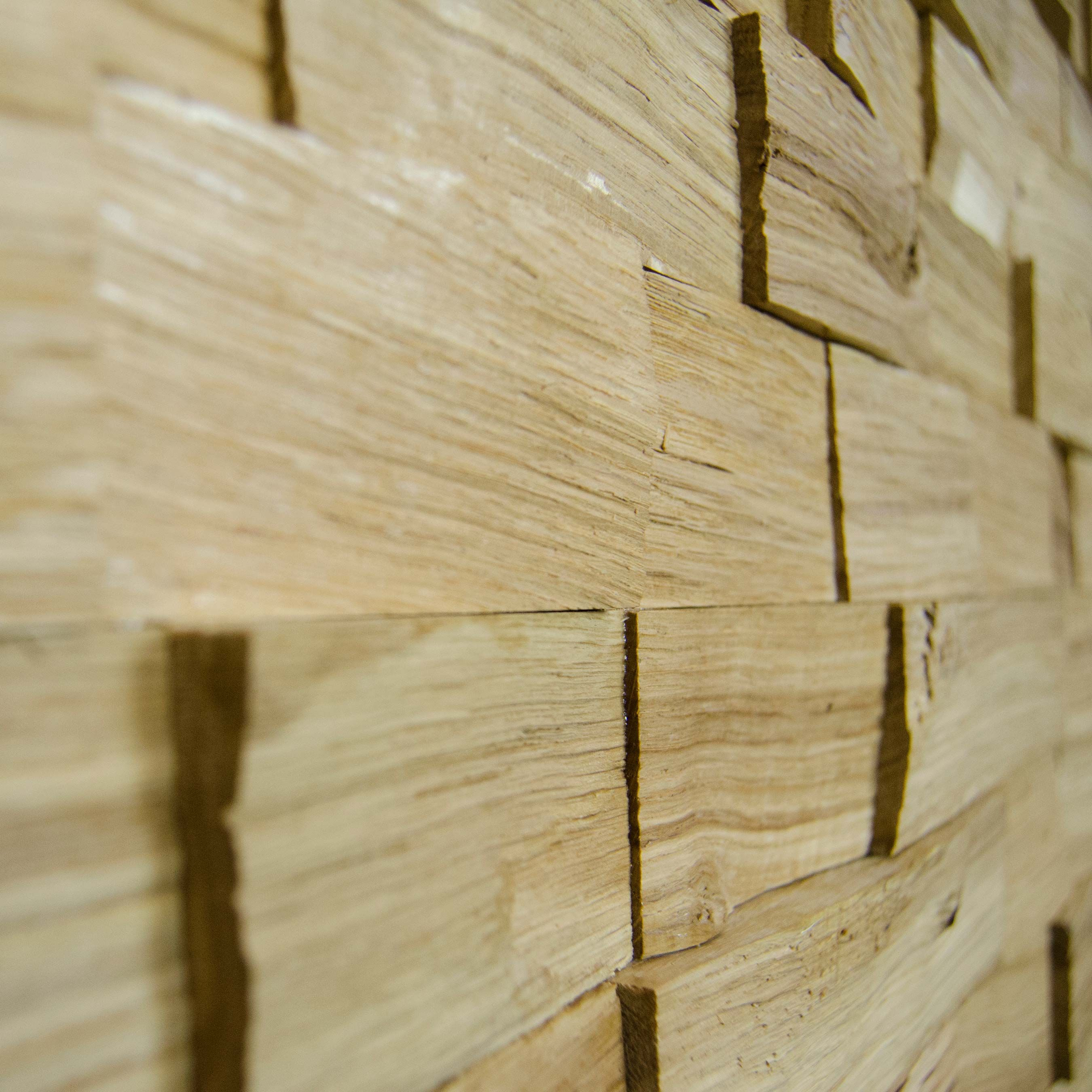 Wallure Striped - Oak - Wide - Split - Varnished Wooden Wall Panel ...