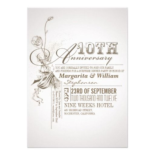 Beautiful typography 10th anniversary invitations we are given they beautiful typography anniversary invitations online after you search a lot for where to buyshoppinglowest price fast shipping and save your money now stopboris Choice Image
