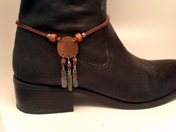 Boot Bracelet With Copper Disk And Beautifully By Mciversrevivers 23 00