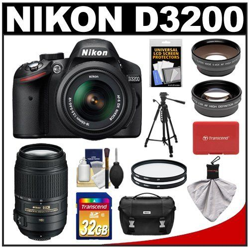 Nikon D3200 Digital SLR Camera & 18-55mm G VR DX AF-S Zoom Lens (Black) + 55-300mm VR Lens + 32GB Card + Case + Filters + Tripod + Telephoto & Wide-Angle Lens Kit by Nikon. $899.95. Kit includes:♦ 1) Nikon D3200 Digital SLR Camera & 18-55mm G VR DX AF-S Zoom Lens (Black)♦ 2) Nikon 55-300mm f/4.5-5.6G VR DX AF-S ED Zoom-Nikkor Lens   ♦ 3) Transcend 32GB SecureDigital Class 10 (SDHC) Card♦ 4) Nikon Deluxe Digital SLR Camera Case♦ 5) Vivitar 52mm UV Glass Filter♦ 6) V...