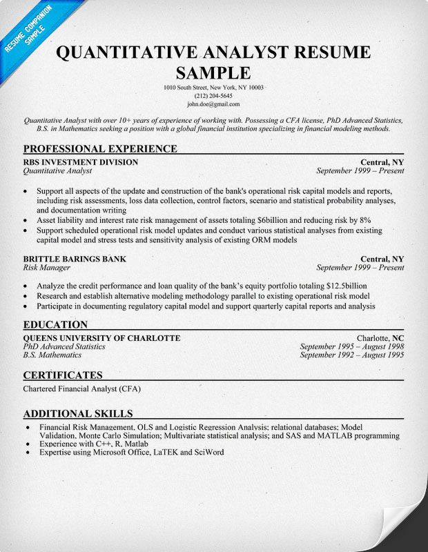 Quantitative Analyst Resume Sample  Resume Samples Across All