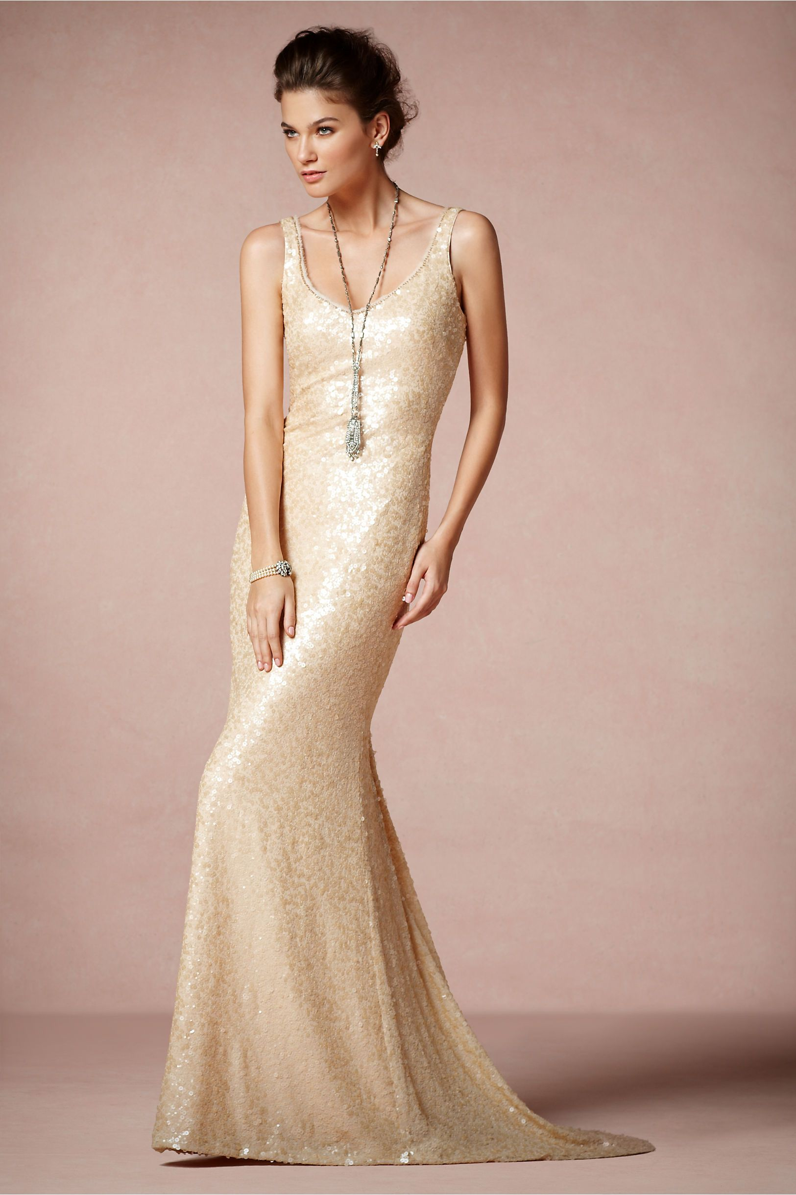 simple champagne wedding dress scoop neck | fashion | Pinterest