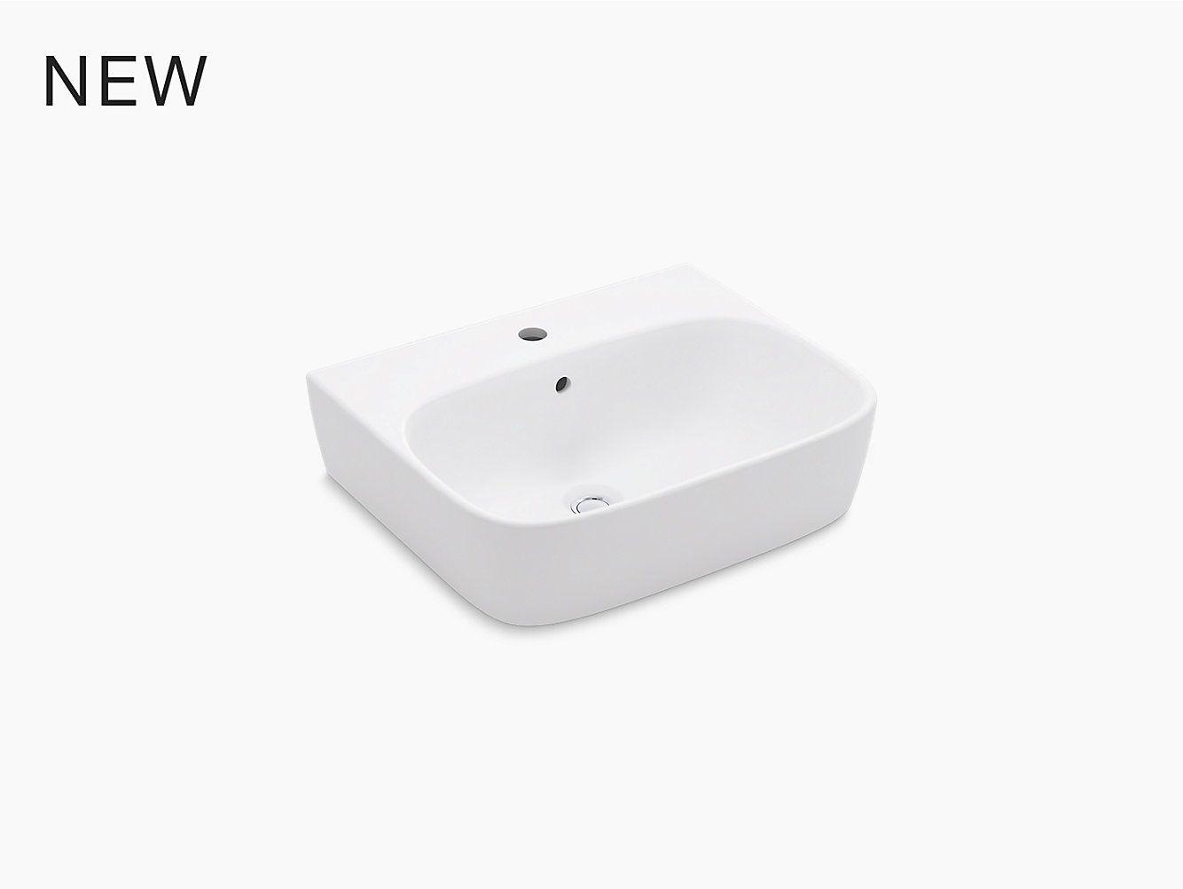 K 77767 1 Modernlife Wall Mounted Bathroom Sink With Single Center Mounted Faucet Hole And Rectangular Basin Kohler In 2020 Bathroom Sink Basin Sink
