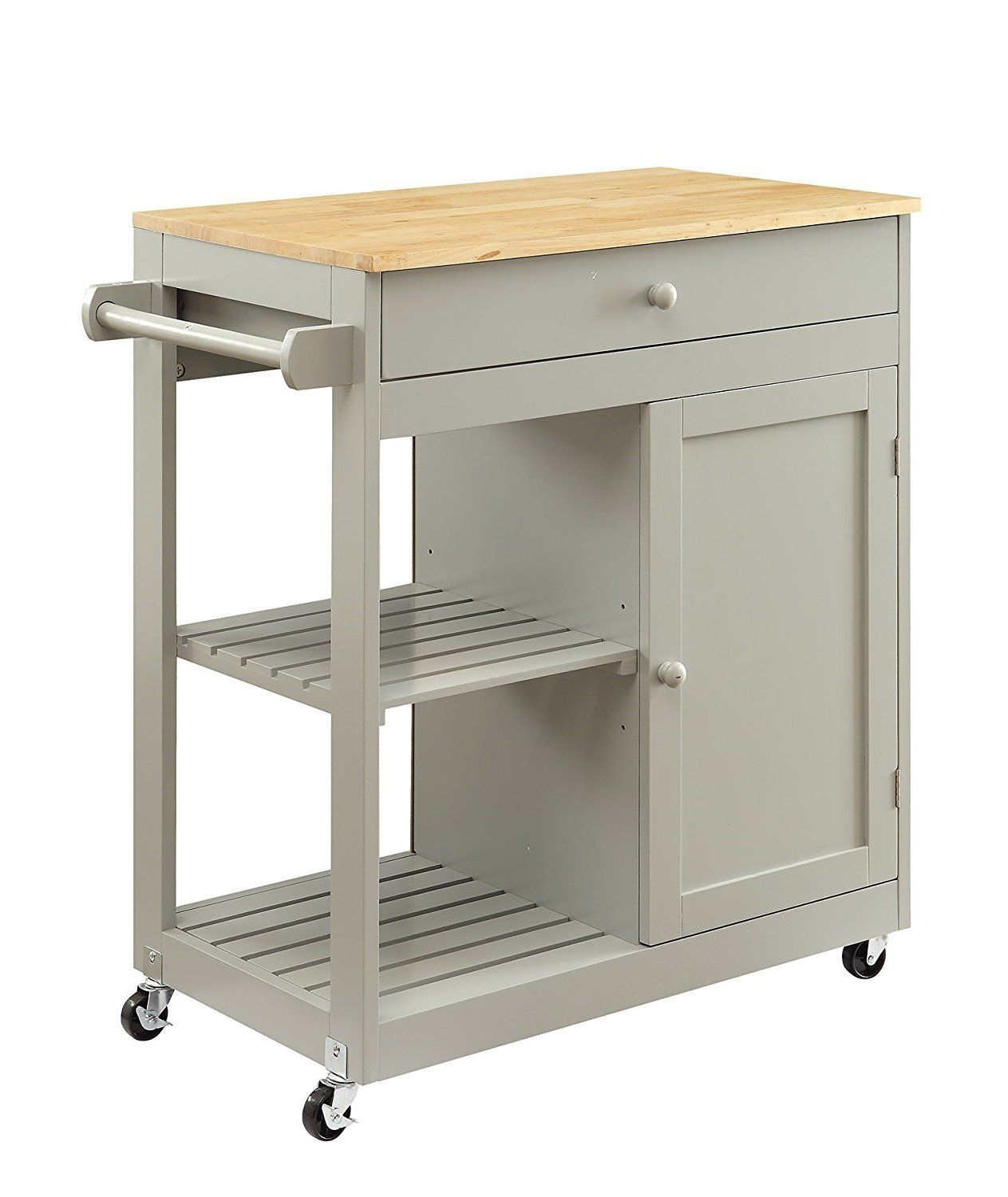 Küche Grau Klein Homelife Nashville Collection Wooden Grey Kitchen Island Cart On