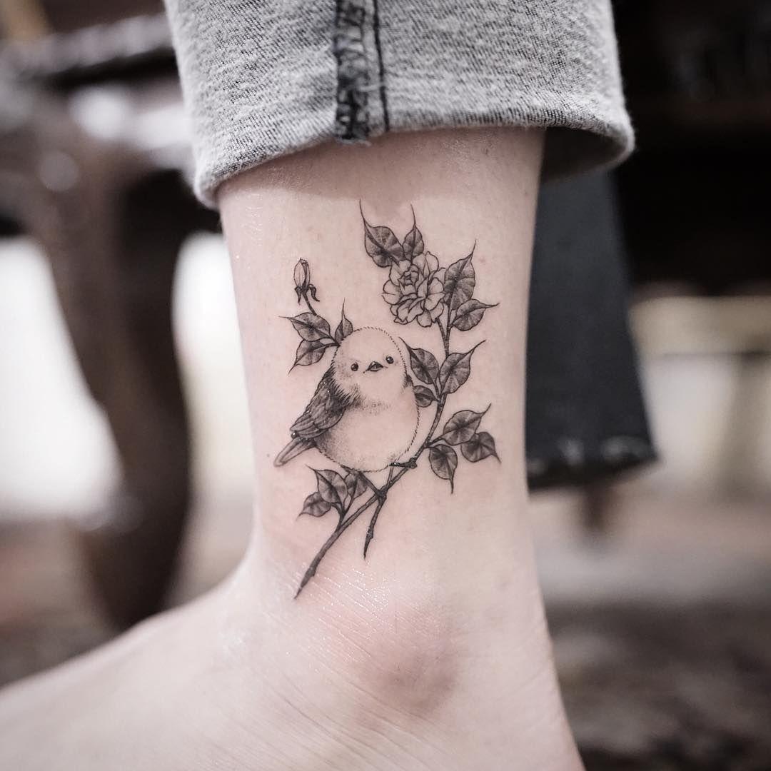 Tattoo Small Birds: Small Bird And Flowers Tattoo Idea