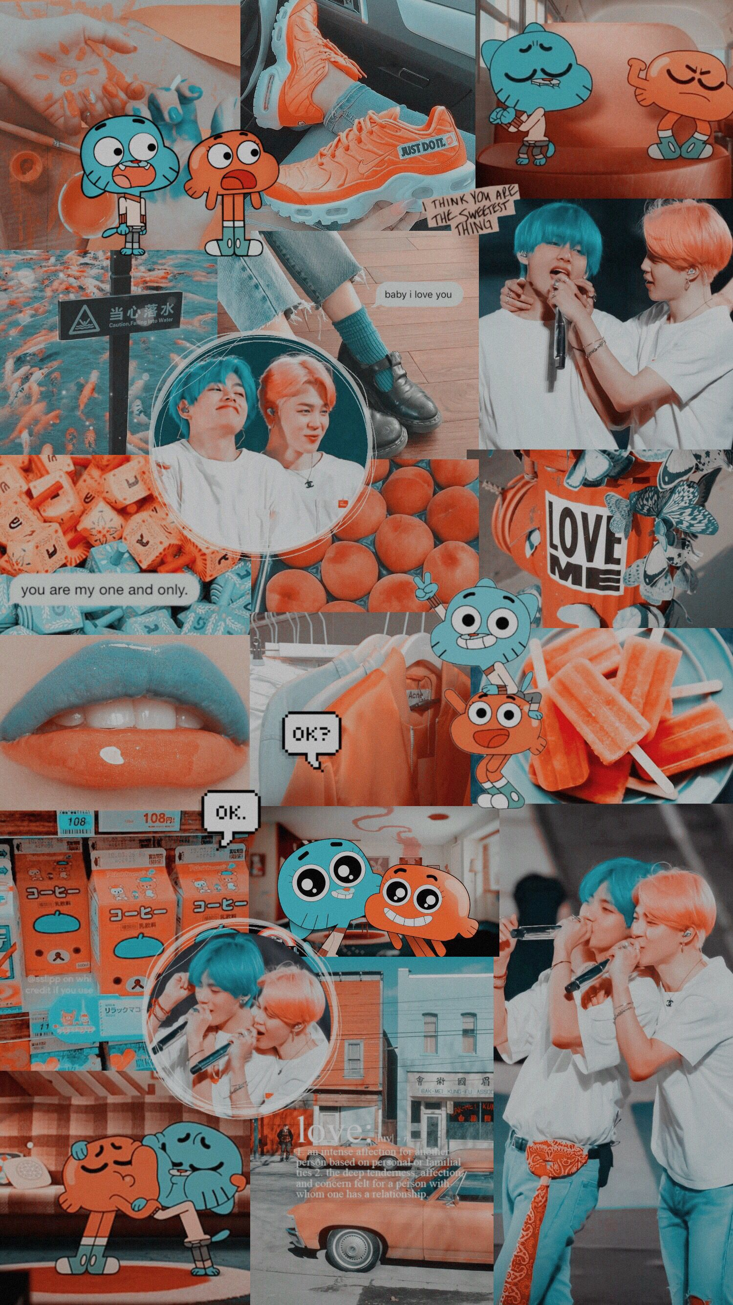 Vmin Jimin Taehyung V Wallpaper Bts Lockscreen Darwin Gumball Aesthetic Blue Oran In 2020 Bts Laptop Wallpaper Aesthetic Iphone Wallpaper Cartoon Wallpaper