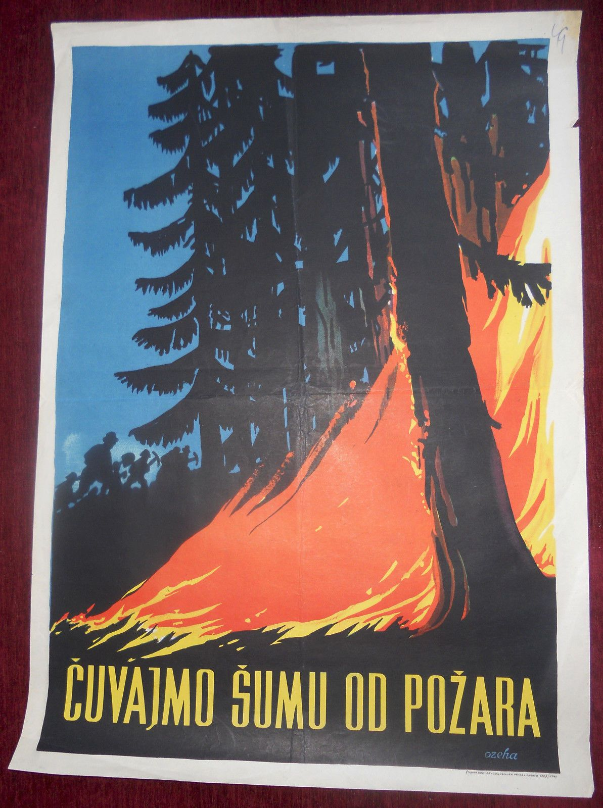 Educational Anti Fire Poster 1949 Production Ozeha Advertising Material Poster Advertising