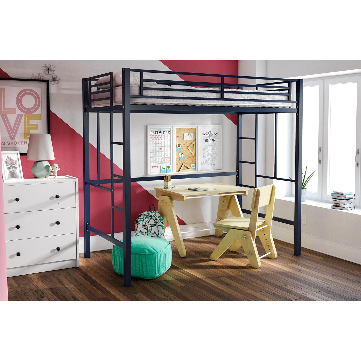 Yourzone Metal Loft Bed Twin Size Navy Walmart Com In 2020