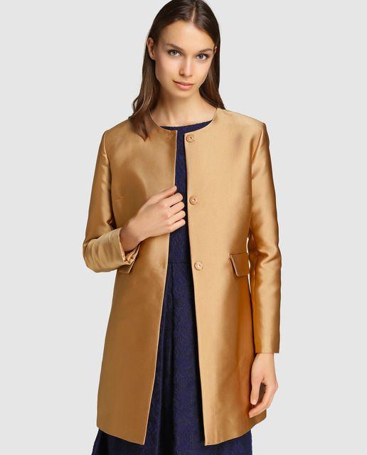 Abrigo Largo De Mujer Roberto Verino En Color Oro Abrigos Largos Moda Ropa