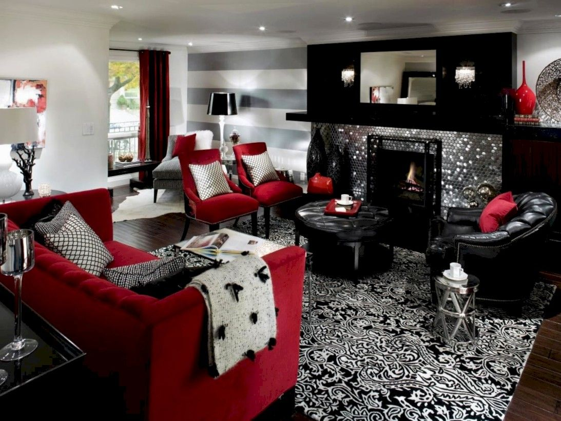 45 Gorgeous Red White Living Rooms Ideas Http Seragidecor Com 45 Gorgeous Red White Red Living Room Decor Grey And Red Living Room Black And Red Living Room