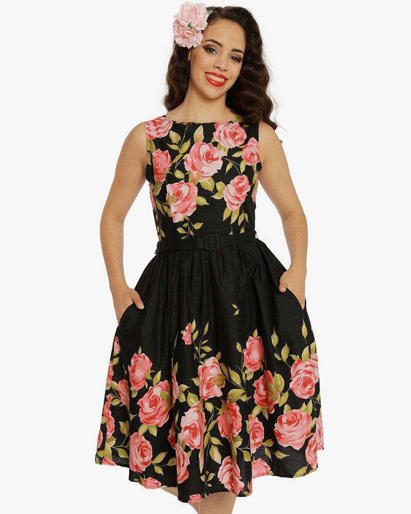 Audrey Pink Rose Border Dress Vintage Style Dresses Lindy Bop Vintage Style Dresses Dresses Vintage Fashion [ 1000 x 800 Pixel ]