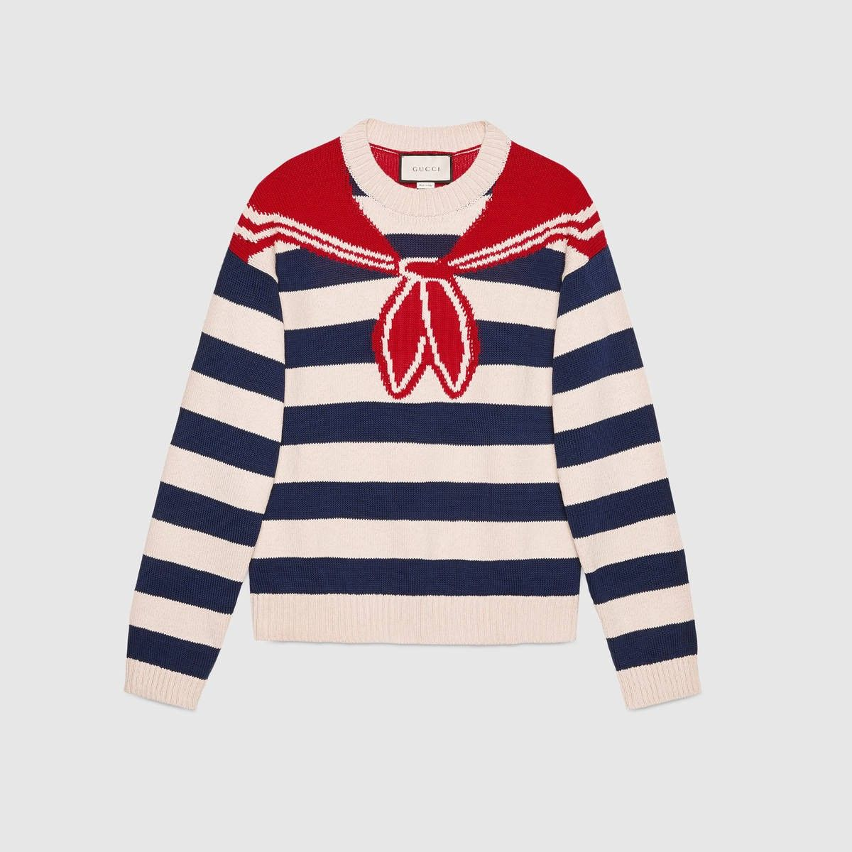 GUCCI Bandana Trompe L'Oeil Intarsia Sweater - Blue, White And Red ...