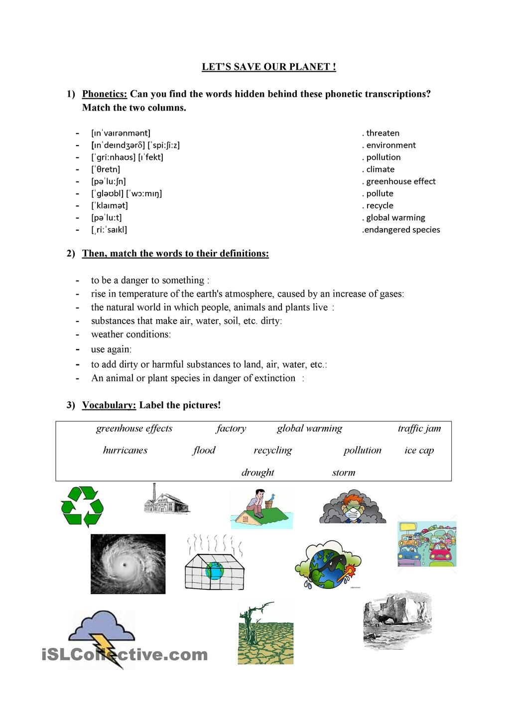 Workbooks weather expressions in spanish worksheets : Save our planet ! | ENVIRONMENT | Pinterest | Planets, Environment ...