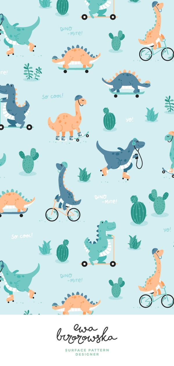 Dino-mite - cute textile pattern design with dinosaurs. Textile design, children illustration, dino, dinosaur, skate, kids pattern, pattern design, dino skate, textile pattern design for kids. #dinosaurillustration Dino-mite - cute textile pattern design with dinosaurs. Textile design, children illustration, dino, dinosaur, skate, kids pattern, pattern design, dino skate, textile pattern design for kids. #dinosaurillustration