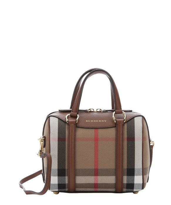 5405e3b7be14 Burberry brown leather and house check canvas small  Alchester  convertible bowling  bag