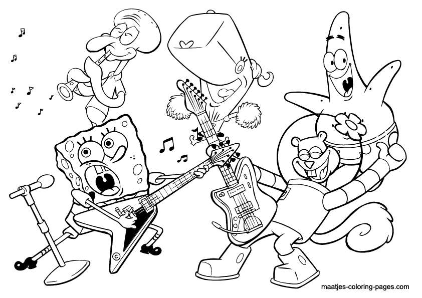 Spongebob Band Coloring Page   Mermaid Cricut Air 2 ...